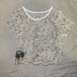 Sheer Lace Embroidered Floral Crop Top
